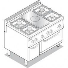 Плита комбинированная газовая с духовым шкафом TECNOINOX PFP105GG7